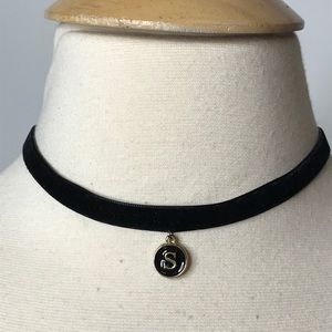 Jewelry - Black Velvet Choker Necklace with S Initial Charm